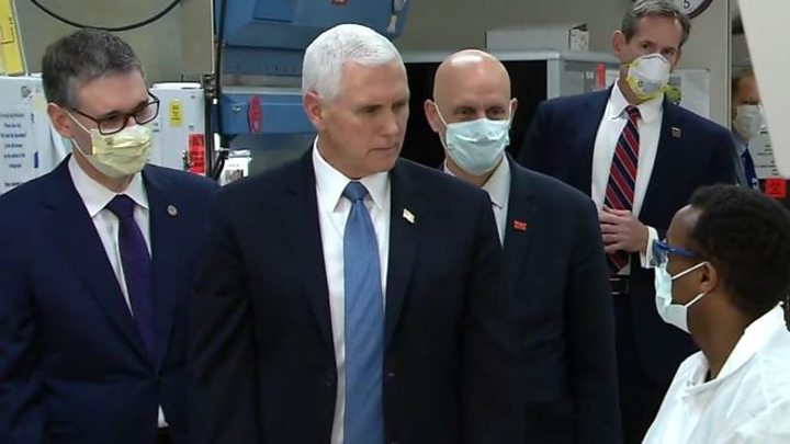 Photo of Coronavirus: Mike Pence flouts rule on masks at hospital