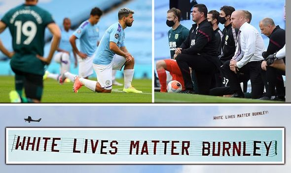 Photo of 'White Lives Matter Burnley' sign flown over Man City stadium after players took a knee