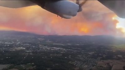 Photo of California wildfires seen from a plane as Trump declares major disaster